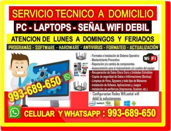 Servicio tecnico a internet pc laptops cableados a domicilio oficinas