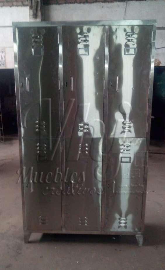 Lockers de acero inoxidable de 6 casilleros