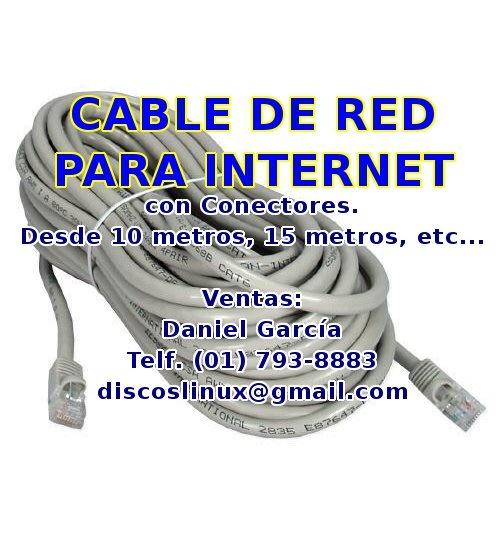 Cable de red para intenet utp cat5e para tu pc router ps4 smarttv repetidor etc los olivos