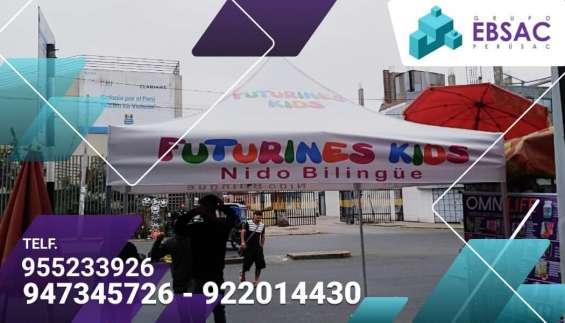 Fabricamos toldos publicitarios para todo tipo de campañas: promoción de marcas, atención al cliente, venta de productos, activaciones, etc.