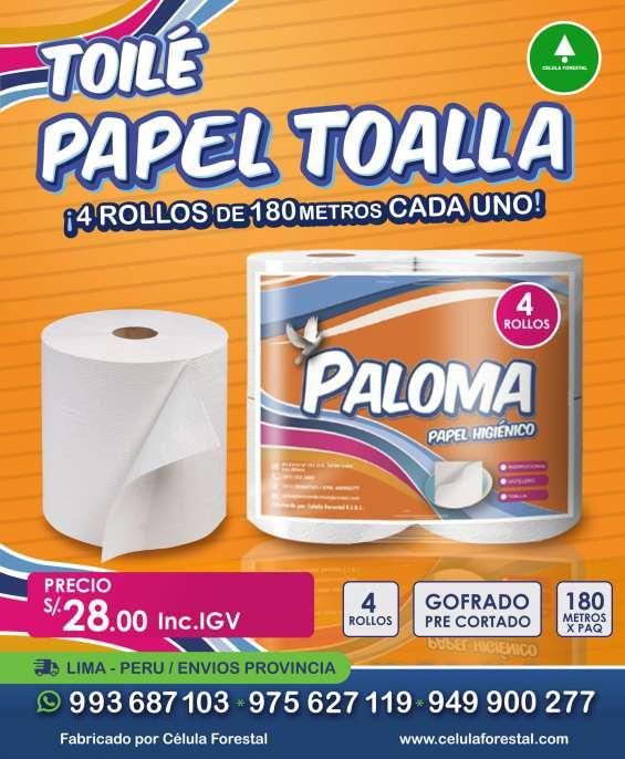 Papel toalla blanco doux plus 180m x 4 rollos papel jumbo